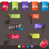 Set of paper sale stickers and labels on dark background. Vector web design template. illustration discount bookmarks. Stock Photography