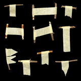 Set paper scraps and wood isolated Royalty Free Stock Image