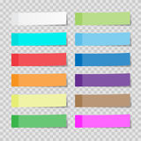 Set of paper sheets or sticky stickers  on a transparent Royalty Free Stock Photo