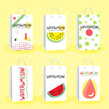 Set of paper shopping fruit bags on watermelon subject. Layout bags with healthy food for vegetarian store. Set of paper shopping fruit bags on watermelon Royalty Free Stock Photos