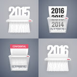 Set of Paper Shredder Illustrations with Dates Stock Image
