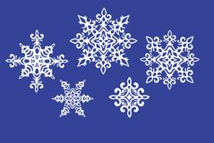 Set of paper snowflakes Royalty Free Stock Images