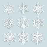 Set of paper snowflakes with shadow. For winter, New Year and Christmas design. Ornate volumetric snowflake Royalty Free Stock Photos