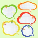 Set of paper speech bubbles with pins. Eps 10 Stock Photo