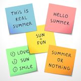 Set of paper stickers with funny slogans Stock Images