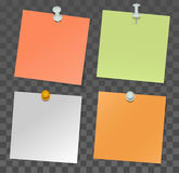 Set of paper stickers for notes and pushpin on transparent background Royalty Free Stock Image