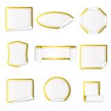 Set of paper stickers white with gold border.Vector illustration Royalty Free Stock Photos