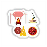 Set of paper stickers on white junk food Royalty Free Stock Images