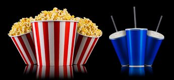 Set of paper striped buckets with popcorn and blue cups isolated on black