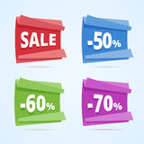 Set of paper style discount banners. Sale banner, 50, 60 and 70 percents off. Vector illustration in flat style Royalty Free Stock Photography