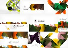 Set of paper style geometric abstract backgrounds. Vector templates set Royalty Free Stock Images