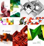 Set of paper style geometric abstract backgrounds. Vector templates set Royalty Free Stock Image