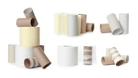 Set with paper toilet rolls and empty tubes stock images