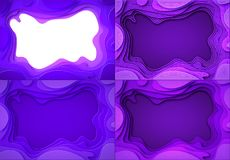 Set From the paper violet shades with smooth transitions and white, dark lines. are cut out. Place for ad announcement. Abstract art of carving. Vector royalty free illustration