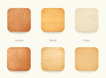 Set of paper wood and leather app icons Royalty Free Stock Photo
