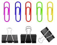 Set of paperclips on white background. Stock Image