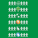 Set of papercut figures holding ecological symbols -vector eps8 Royalty Free Stock Photos
