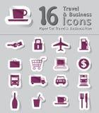 Set papierowa rżnięta podróży i biznesu ikona Fotografia Stock