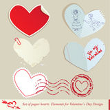 Set papierowi serca. Obrazy Royalty Free