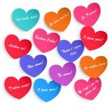 Set papierowi serca z inskrypcją kocham ciebie Zdjęcie Royalty Free