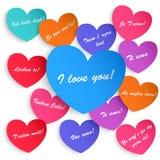 Set papierowi serca z inskrypcją kocham ciebie Obraz Stock