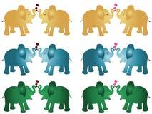 6 set para złota błękitna zielonego colour słonia dziecka łydkowej kreskówki wektorowa ilustracja z czerwieni i menchii sercami p ilustracji