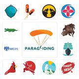 Set of paragliding, fright night, dog trainer, wushu, cardinal bird, tall ship, barclays bank, bear profile, croc icons. Set Of 13 simple editable icons such as Royalty Free Stock Images