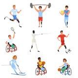 Set Paralympics atlety z fizycznymi kalectwami Uśmiechnięci mężczyzna i kobiety bierze część w różnorodnych sport grach ilustracji