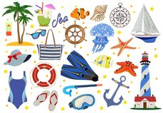 Set of paraphernalia for beach holiday and sea. Vector illustration. Stock Photography