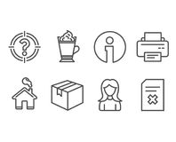 Parcel, Latte coffee and Woman icons. Printer, Headhunter and Delete file signs. Set of Parcel, Latte coffee and Woman icons. Printer, Headhunter and Delete Stock Images
