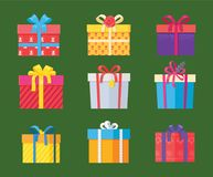 Set of Parcel Package Icons in Decorative Wrapping. Paper with bows and ribbons vector isolated on green, present gift boxes colorful holiday packs Royalty Free Stock Photo