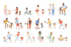 Set with parents and their children doing different sport exercises. Family time. Physical activity and healthy. Lifestyle concept. Colorful flat design vector illustration
