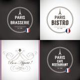 Set of Paris Badges Royalty Free Stock Image