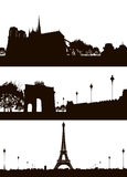 Set of Paris city skyline Stock Photo