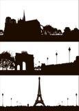 Set of Paris city skyline. Vector Set of Paris city skyline stock illustration