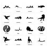 Set of paris, doberman, ninja, raccoon, yin yang, missouri, hummingbird, louisiana, icons. Set Of 16 simple  icons such as paris, doberman, louisiana, ninja Stock Photo