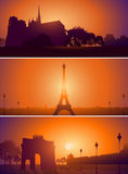 Set of Paris France city skyline Royalty Free Stock Image