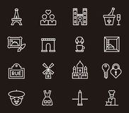 Set of Paris and France icons Stock Photography