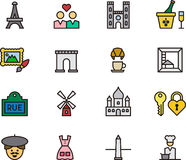Set of Paris and France icons. Set of icons related to Paris and France on a white background Royalty Free Stock Photos