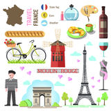 Set of Paris french symbols and landmarks. France vector illustr Stock Photo