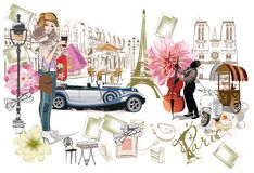 Set of Paris illustrations with fashion girls, cafes and musicians. Royalty Free Stock Photos