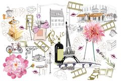Set of Paris illustrations with fashion girls, cafes and musicians. Royalty Free Stock Image
