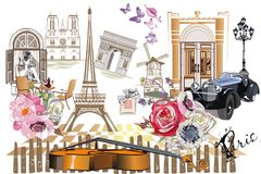 Set of Paris illustrations with Paris symbols. Set of Paris illustrations with fashion girls, cafes and musicians. Vector illustration Stock Images