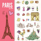 Set of Paris landmarks and icons doodle vector Stock Photography