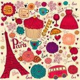 Set of Paris symbols vector illustration