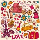 Set of Paris symbols Royalty Free Stock Images