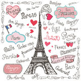 Set of Paris symbols,lettering.Hand drawn doodle