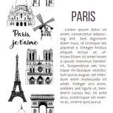 Set of Paris symbols. vertical stripe with description text. Royalty Free Stock Photos