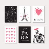 Set of Paris theme cards Stock Images