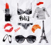 Set Paris watercolor Royalty Free Stock Image